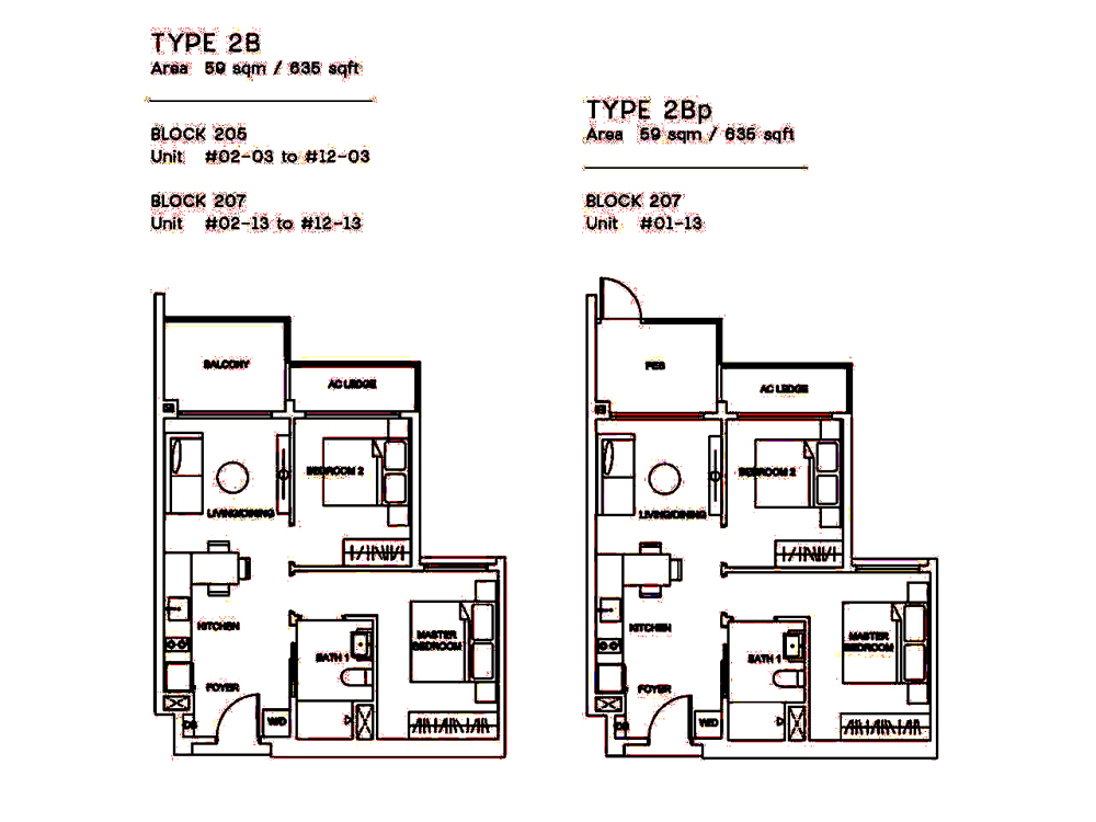 Urban Treasures 2 Bedroom Floor Plan
