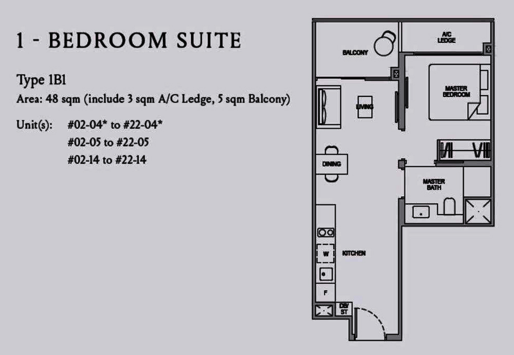 Kopar@Newton 1 Bedroom Floor Plan