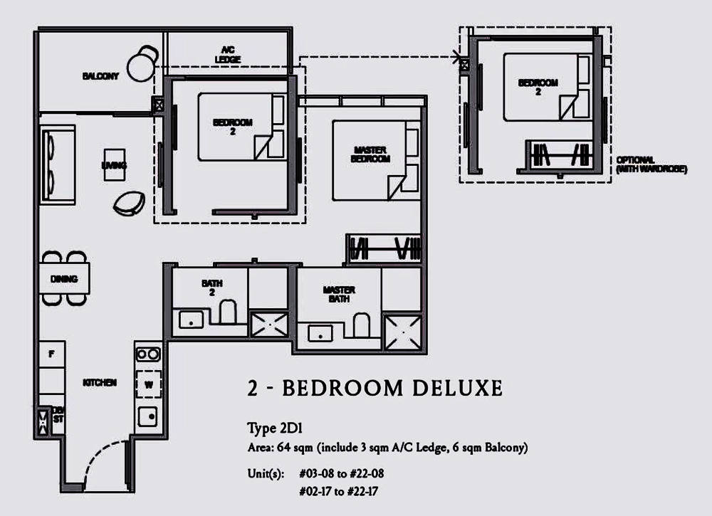 Kopar@Newton 2 Bedroom Deluxe Floor Plan