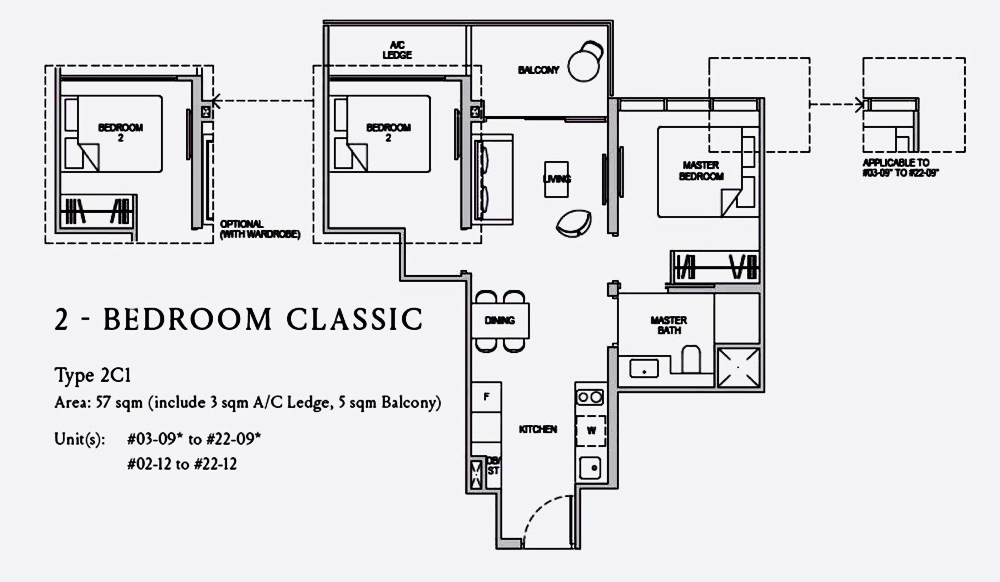 Kopar@Newton 2 Bedroom Floor Plan